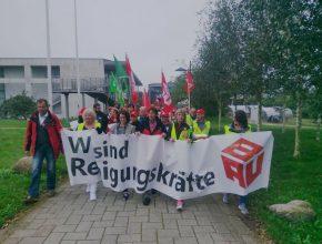 Streikende Reinigungskräfte in Flensburg