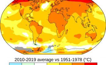 Entwicklung der Durchschnittstemperatur der Jahre 2010-2019 verglichen mit 1951-1978.