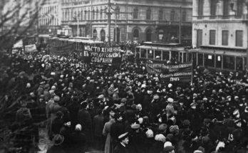 Frauentagsdemonstration zum Auftakt der Februarrevolution in Petrograd